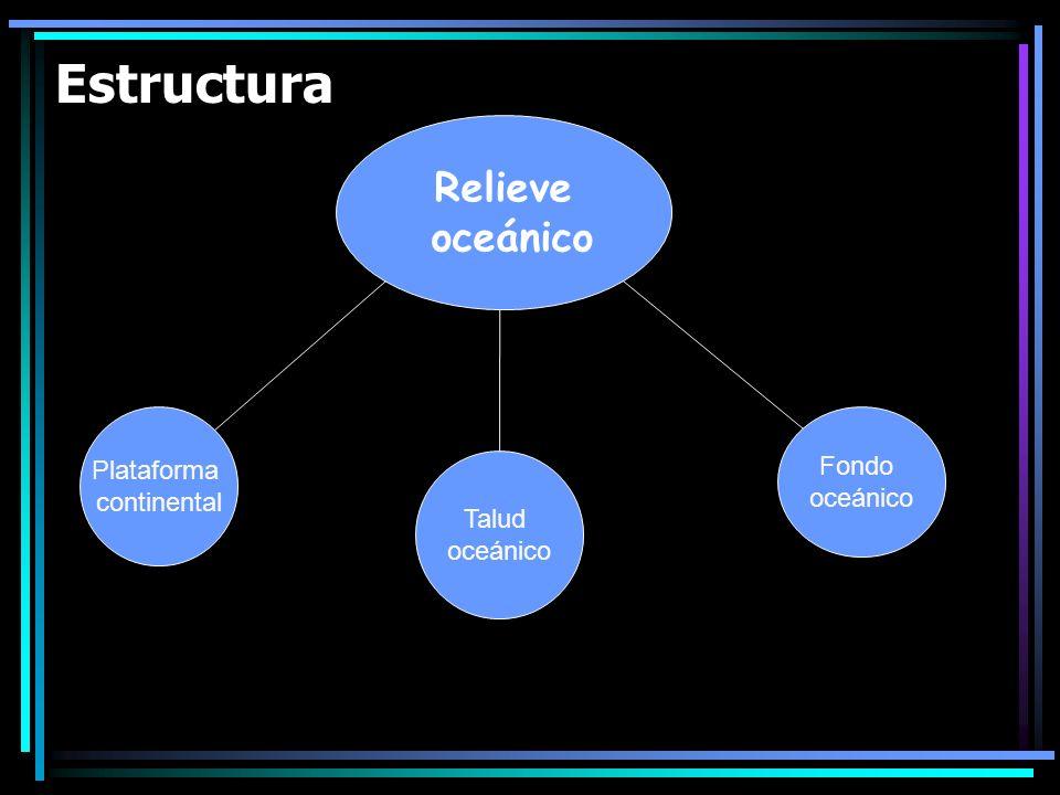 Estructura Relieve oceánico Plataforma Fondo continental oceánico