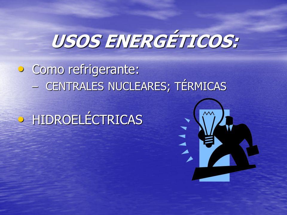 USOS ENERGÉTICOS: Como refrigerante: HIDROELÉCTRICAS