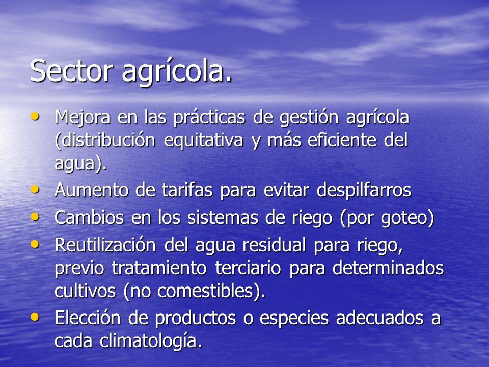 Sector agrícola.Mejora en las prácticas de gestión agrícola (distribución equitativa y más eficiente del agua).