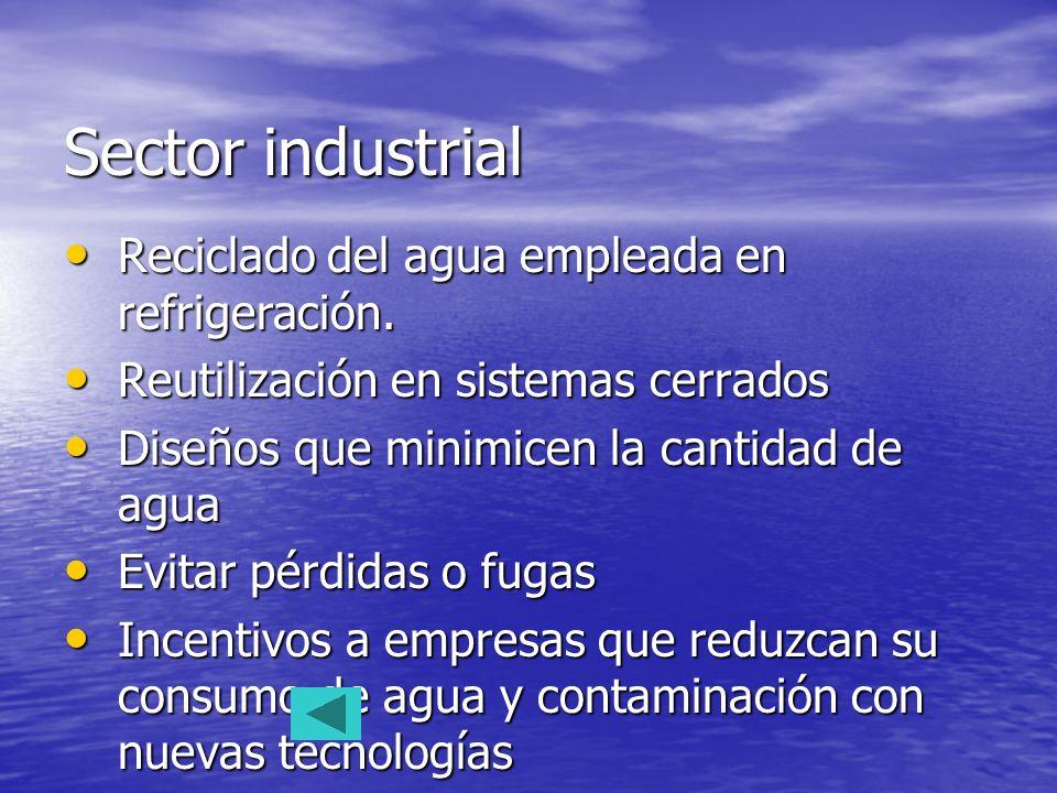 Sector industrial Reciclado del agua empleada en refrigeración.