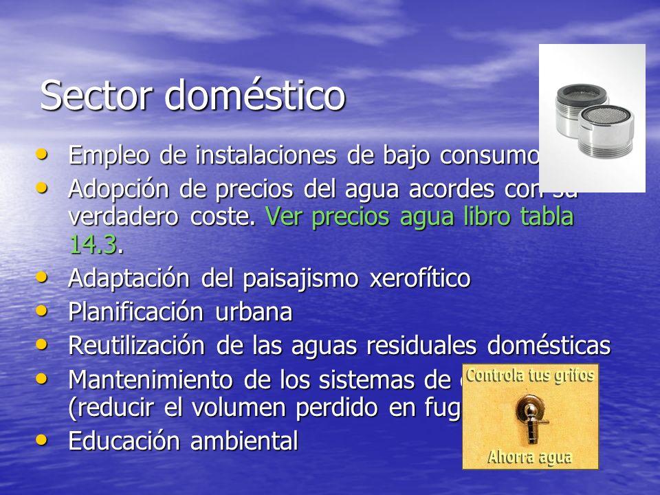 Sector doméstico Empleo de instalaciones de bajo consumo