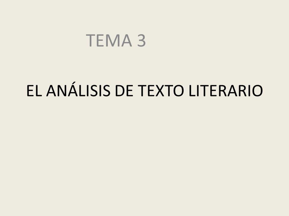 EL ANÁLISIS DE TEXTO LITERARIO