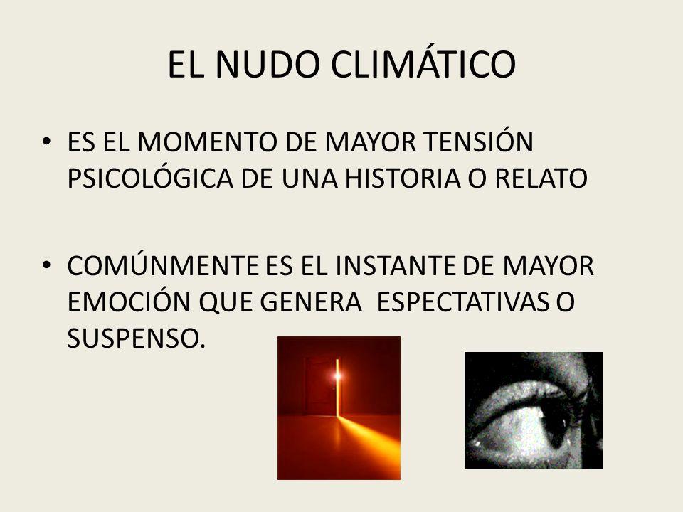 EL NUDO CLIMÁTICOES EL MOMENTO DE MAYOR TENSIÓN PSICOLÓGICA DE UNA HISTORIA O RELATO.