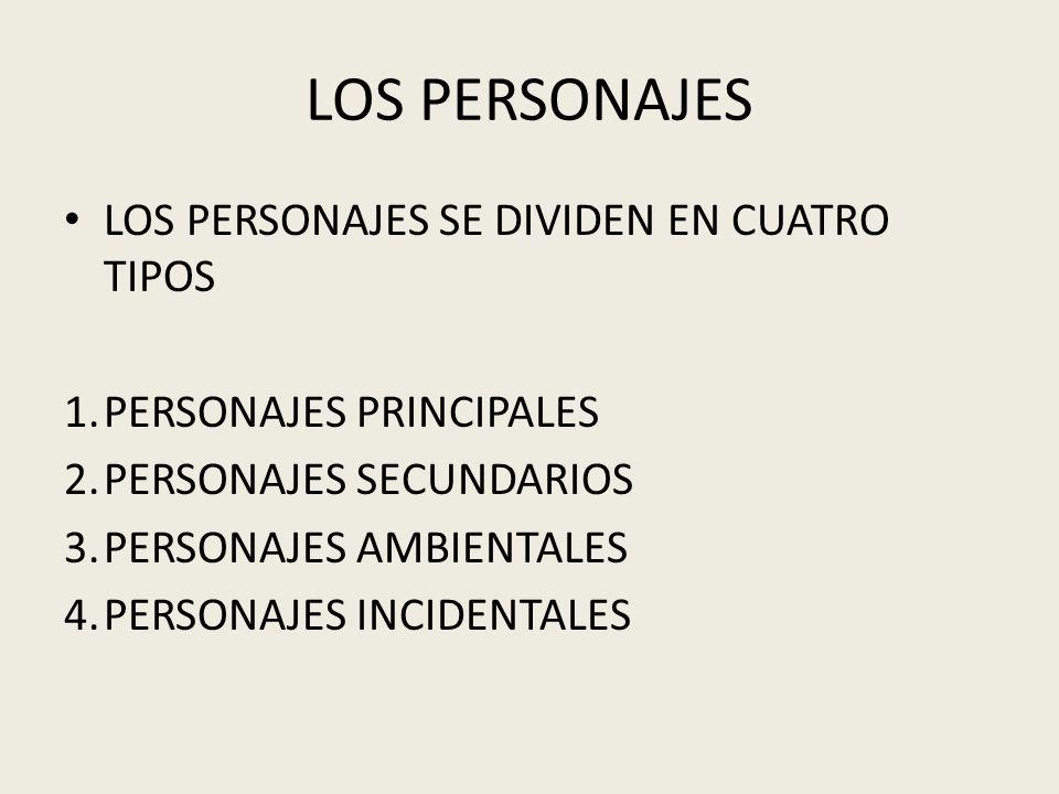 LOS PERSONAJES LOS PERSONAJES SE DIVIDEN EN CUATRO TIPOS
