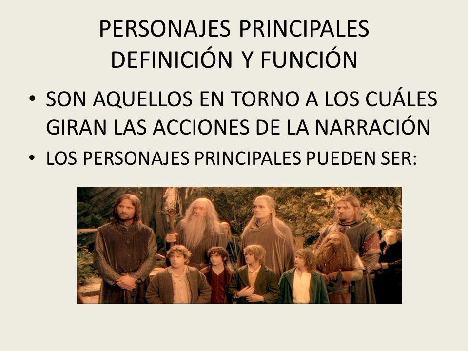 PERSONAJES PRINCIPALES DEFINICIÓN Y FUNCIÓN