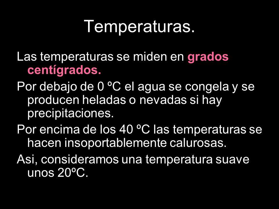 Temperaturas. Las temperaturas se miden en grados centígrados.