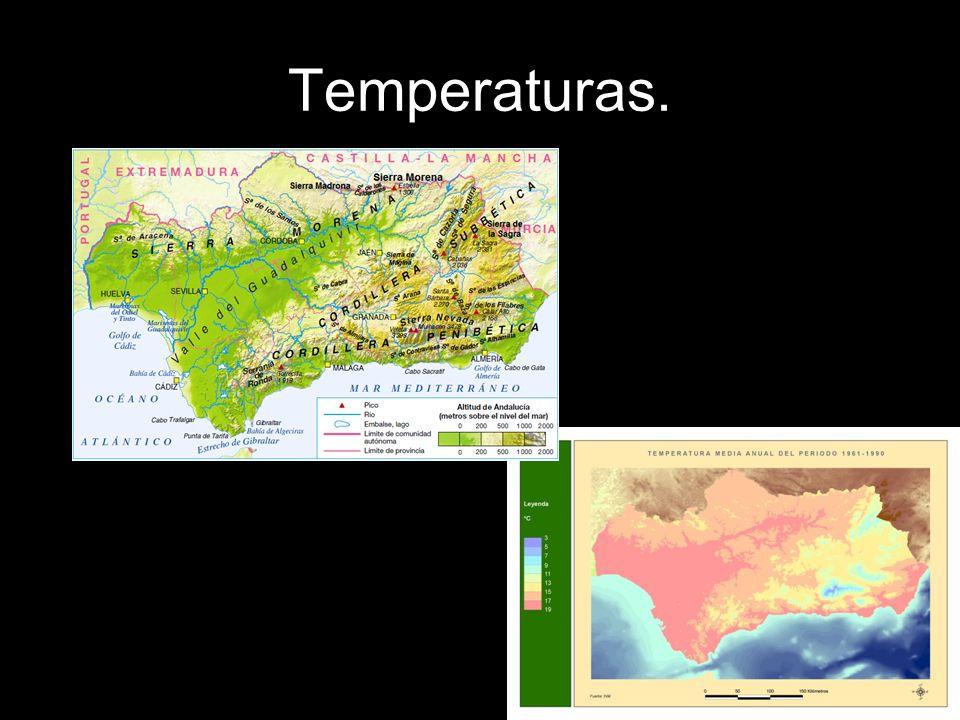 Temperaturas. Compara estos dos mapas.