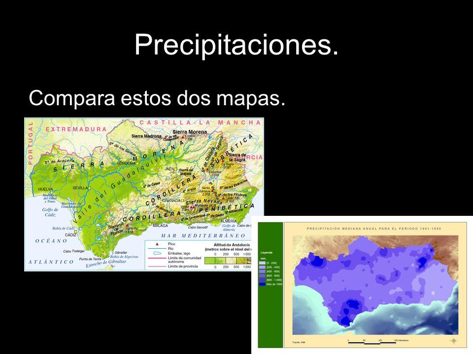 Precipitaciones. Compara estos dos mapas.