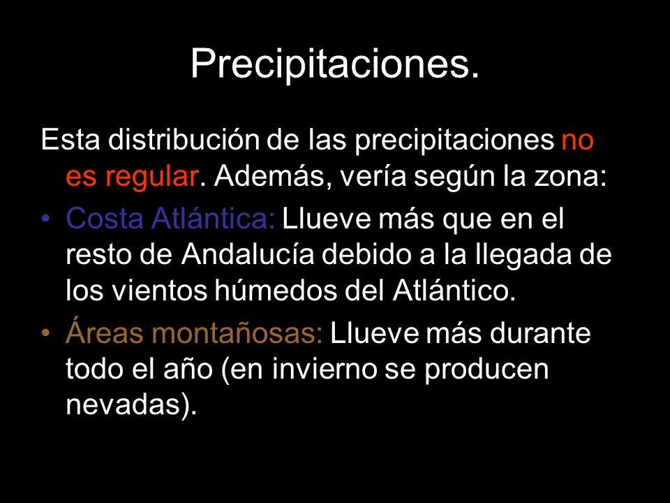 Precipitaciones. Esta distribución de las precipitaciones no es regular. Además, vería según la zona: