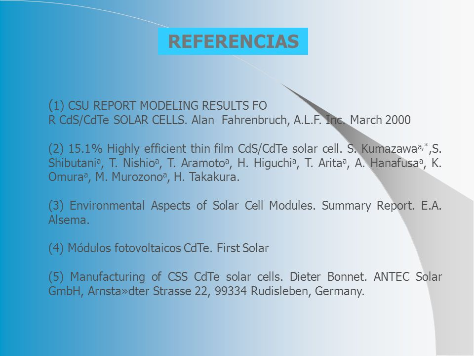 REFERENCIAS (1) CSU REPORT MODELING RESULTS FO