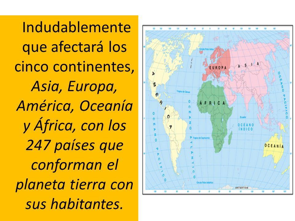 Indudablemente que afectará los cinco continentes, Asia, Europa, América, Oceanía y África, con los 247 países que conforman el planeta tierra con sus habitantes.