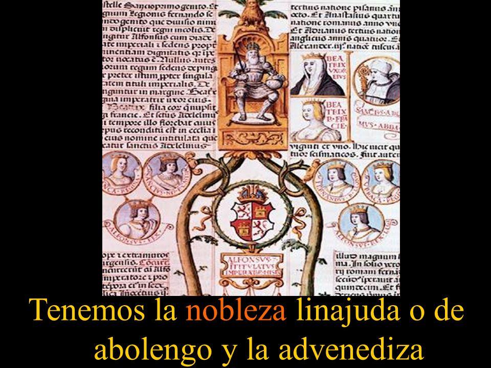 Tenemos la nobleza linajuda o de abolengo y la advenediza