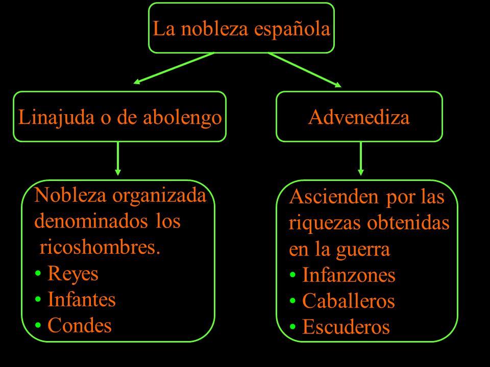 La nobleza española Linajuda o de abolengo. Advenediza. Nobleza organizada. denominados los. ricoshombres.
