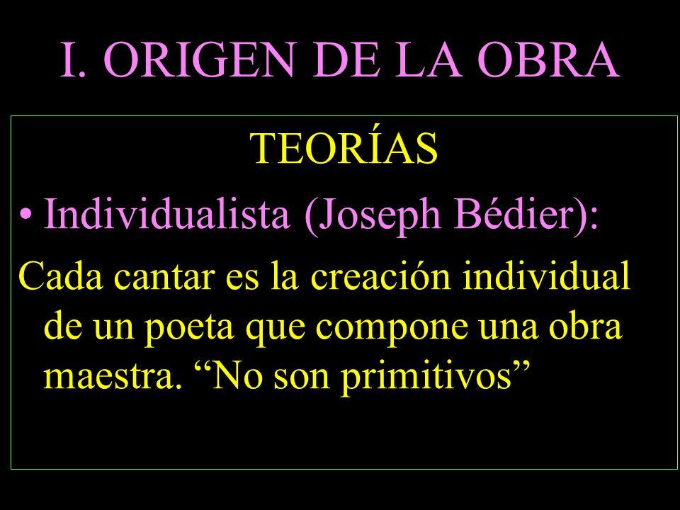 I. ORIGEN DE LA OBRA TEORÍAS Individualista (Joseph Bédier):