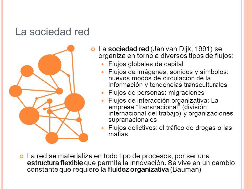 La sociedad red La sociedad red (Jan van Dijk, 1991) se organiza en torno a diversos tipos de flujos: