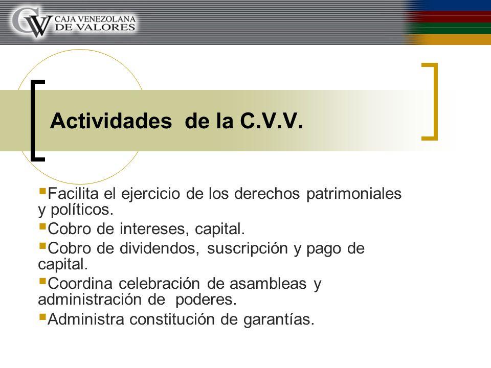 Actividades de la C.V.V. Facilita el ejercicio de los derechos patrimoniales y políticos. Cobro de intereses, capital.