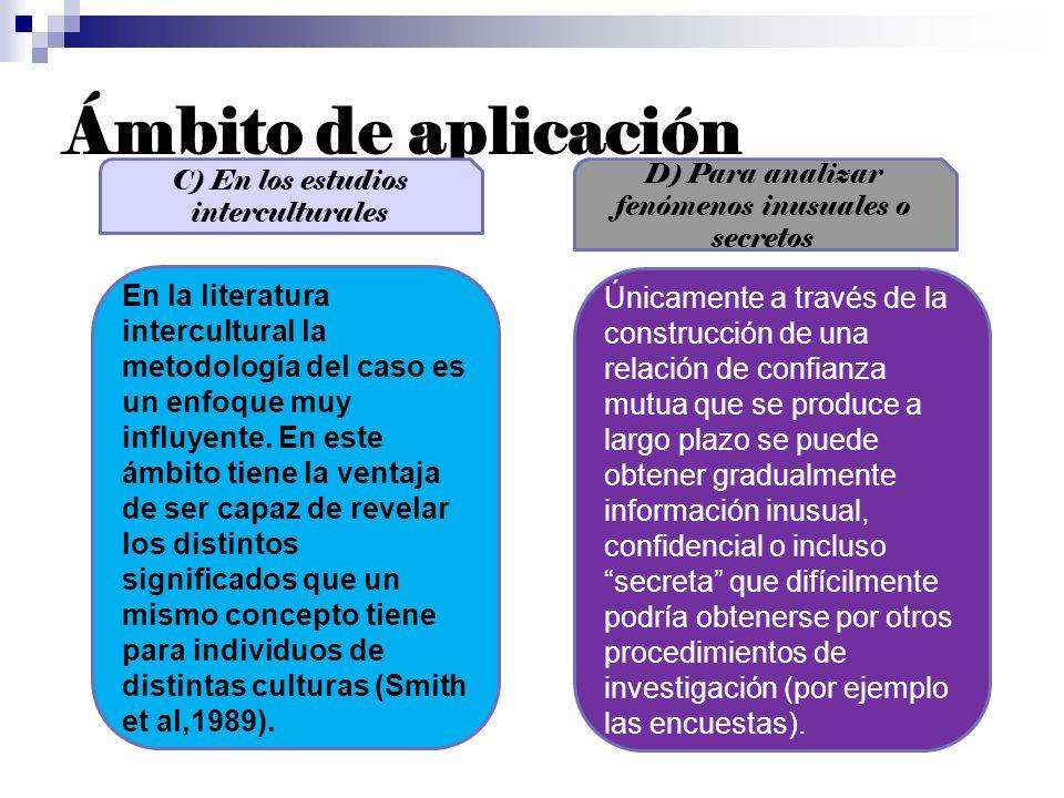 Ámbito de aplicaciónC) En los estudios interculturales. D) Para analizar fenómenos inusuales o secretos.