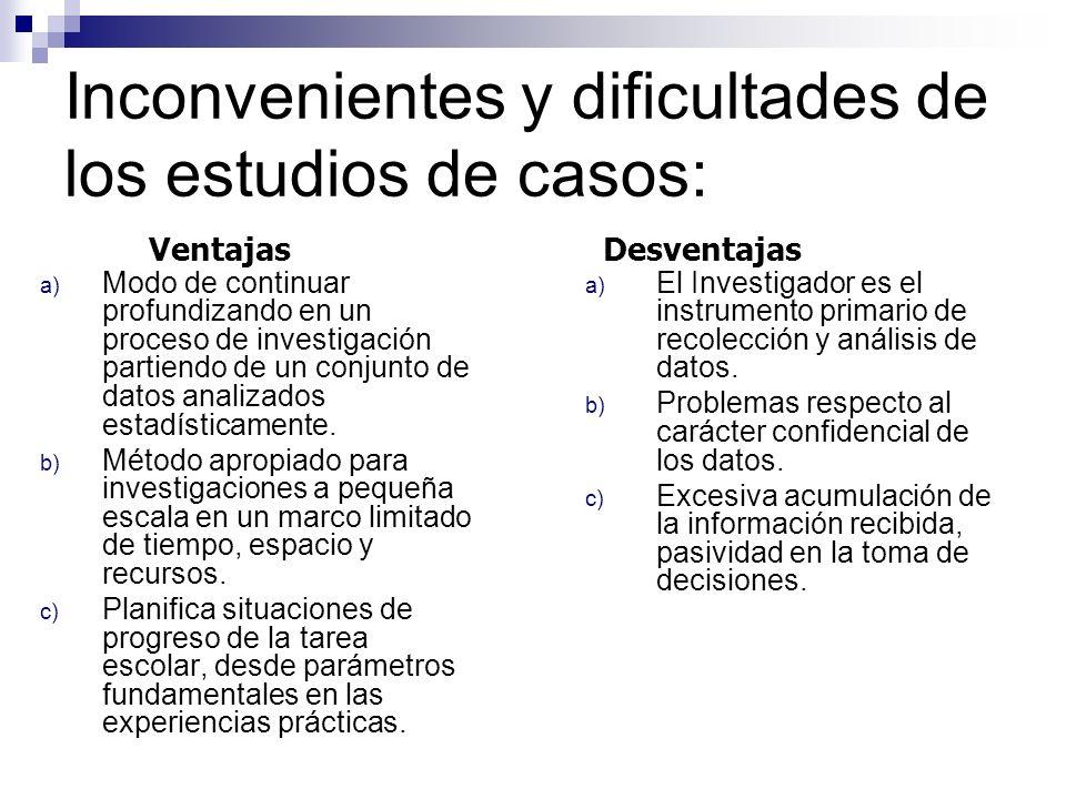 Inconvenientes y dificultades de los estudios de casos:
