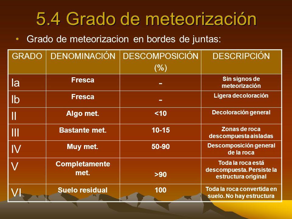5.4 Grado de meteorización