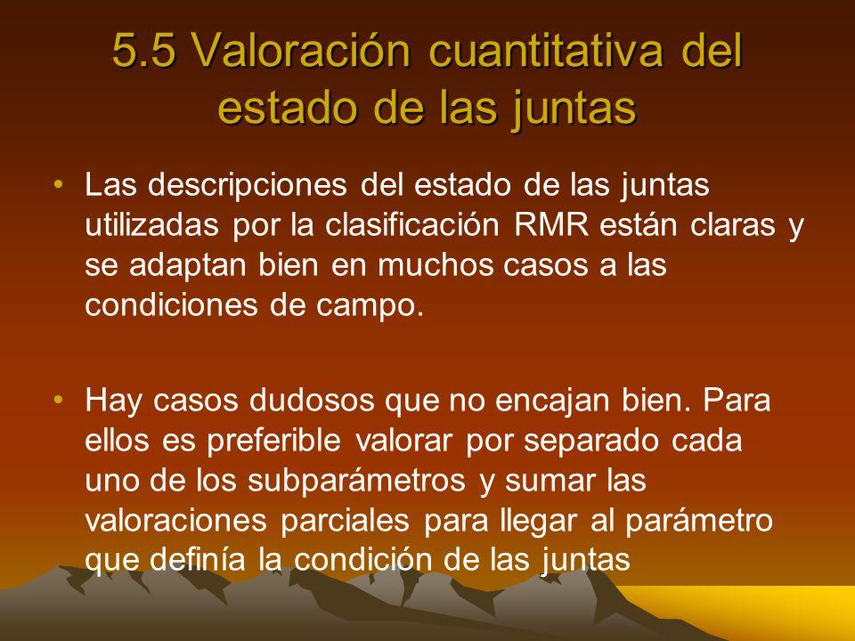 5.5 Valoración cuantitativa del estado de las juntas
