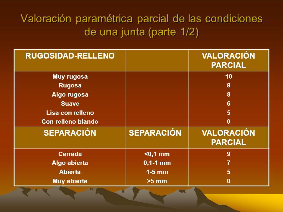 Valoración paramétrica parcial de las condiciones de una junta (parte 1/2)