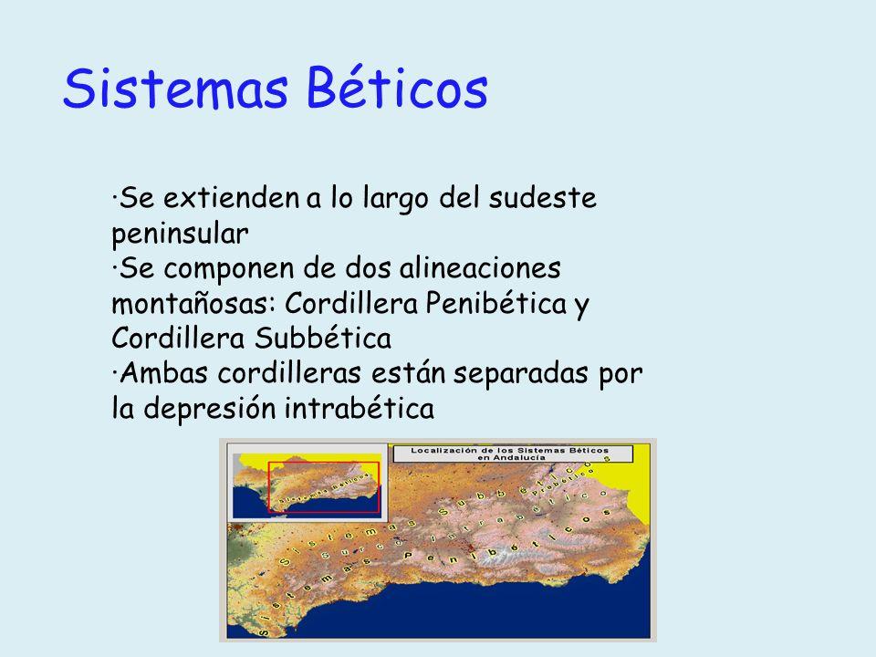 Sistemas Béticos ·Se extienden a lo largo del sudeste peninsular