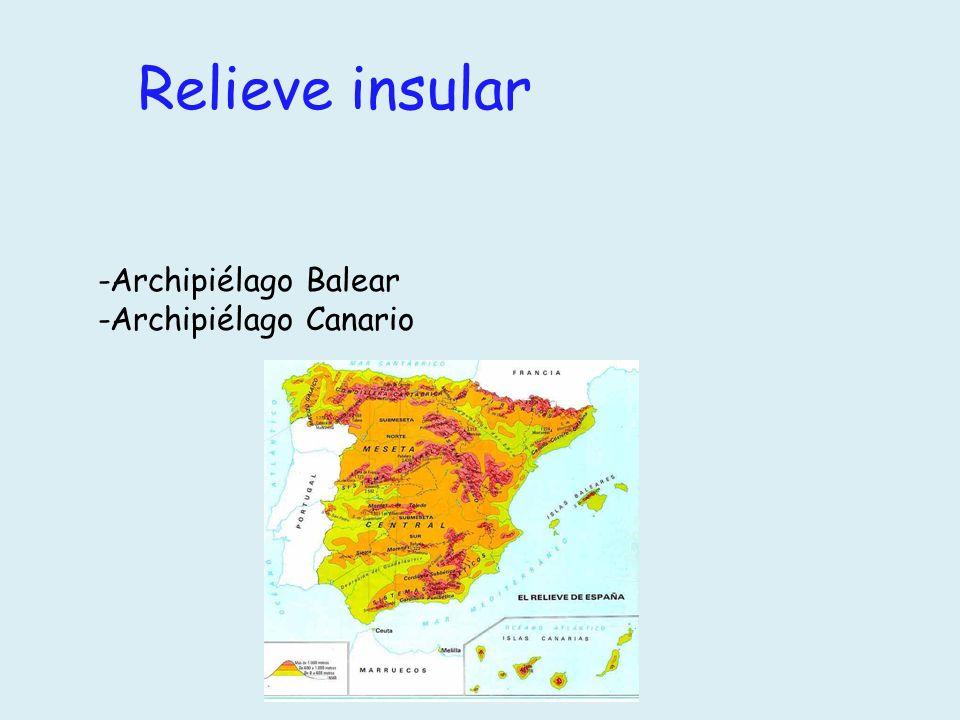 Relieve insular -Archipiélago Balear -Archipiélago Canario