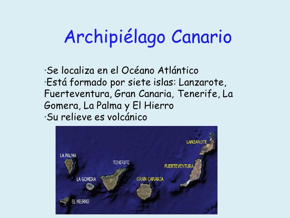 Archipiélago Canario ·Se localiza en el Océano Atlántico