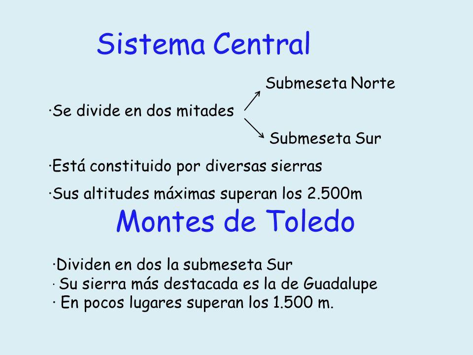 Sistema Central Montes de Toledo Submeseta Norte