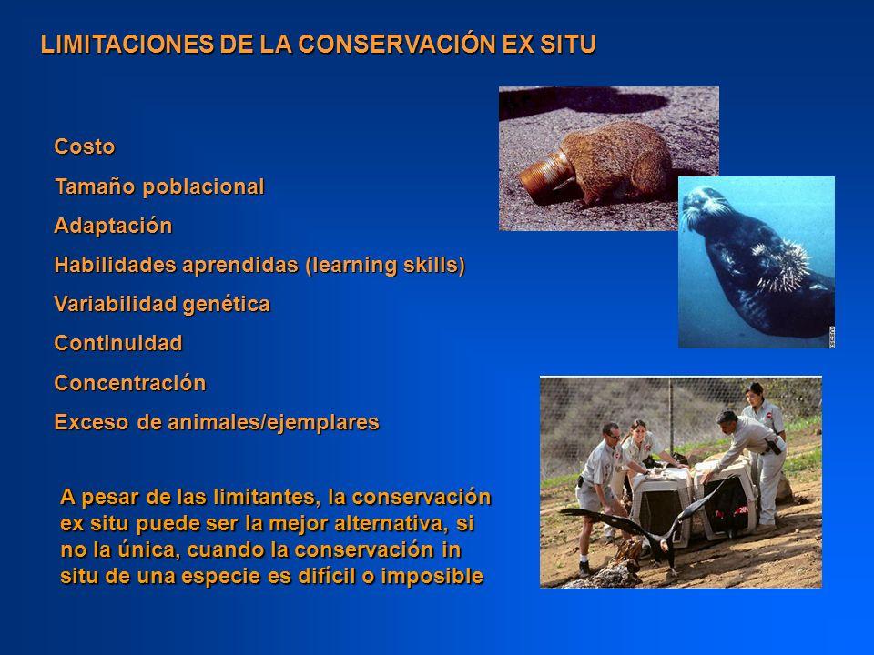 LIMITACIONES DE LA CONSERVACIÓN EX SITU