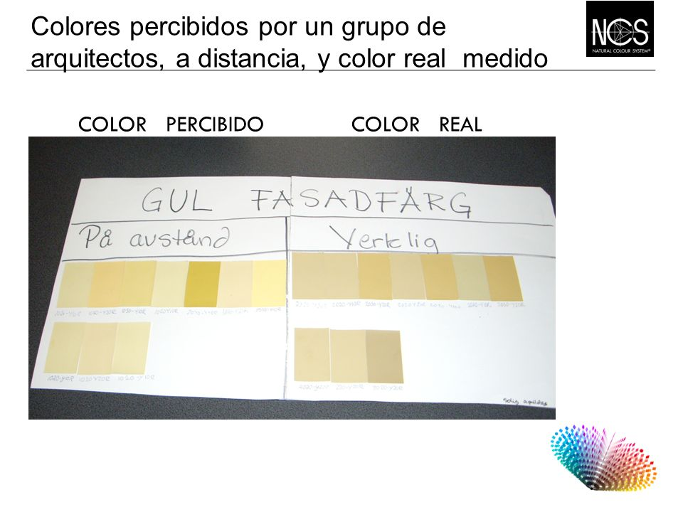 Colores percibidos por un grupo de arquitectos, a distancia, y color real medido
