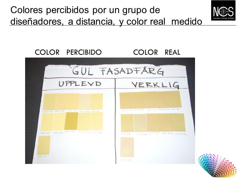 Colores percibidos por un grupo de diseñadores, a distancia, y color real medido