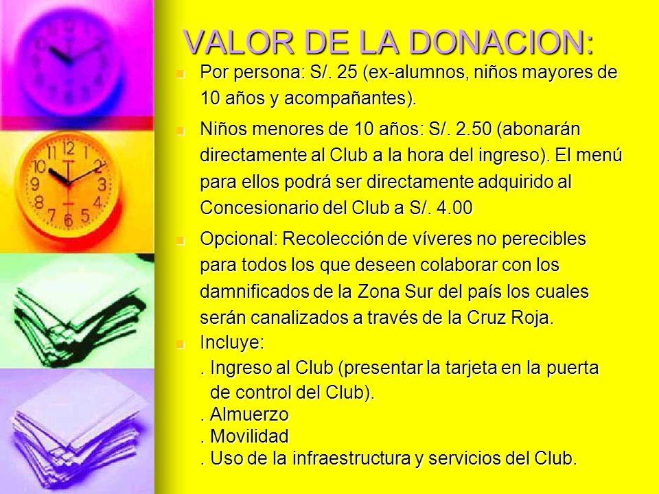 VALOR DE LA DONACION:Por persona: S/. 25 (ex-alumnos, niños mayores de 10 años y acompañantes).