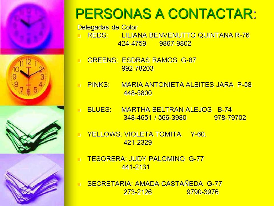 PERSONAS A CONTACTAR: Delegadas de Color