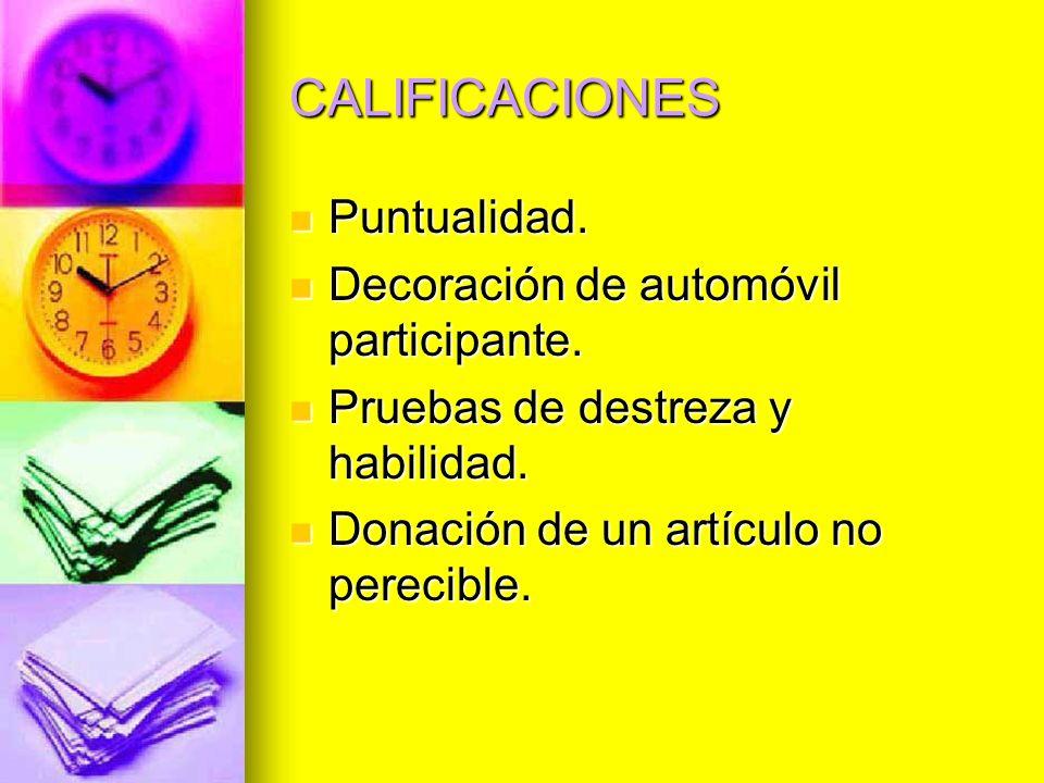 CALIFICACIONES Puntualidad. Decoración de automóvil participante.