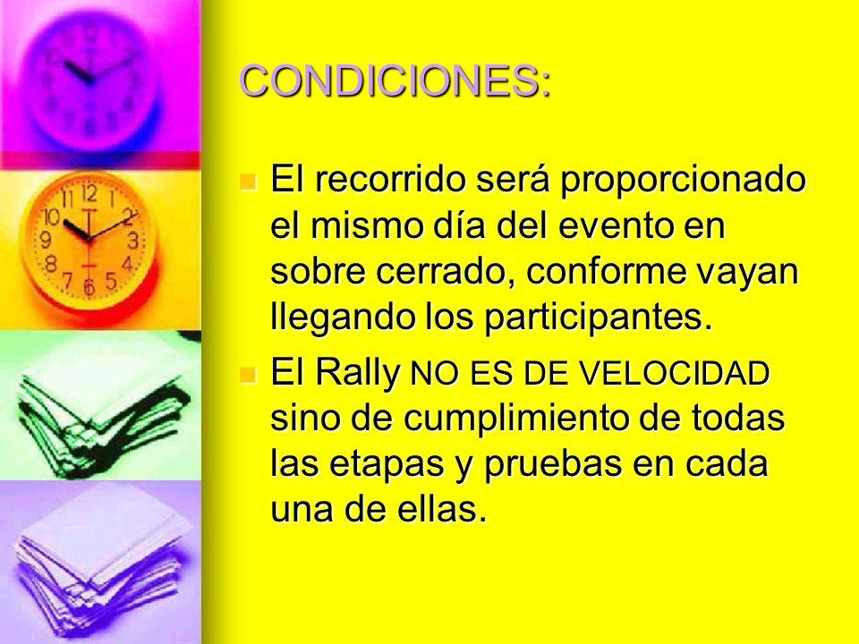 CONDICIONES: El recorrido será proporcionado el mismo día del evento en sobre cerrado, conforme vayan llegando los participantes.