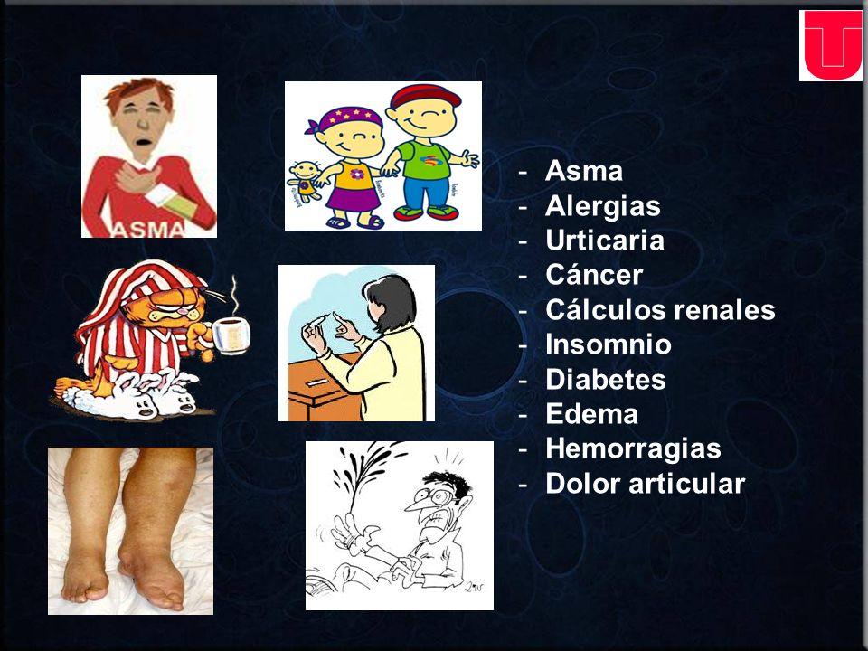 Asma Alergias Urticaria Cáncer Cálculos renales Insomnio Diabetes Edema Hemorragias Dolor articular