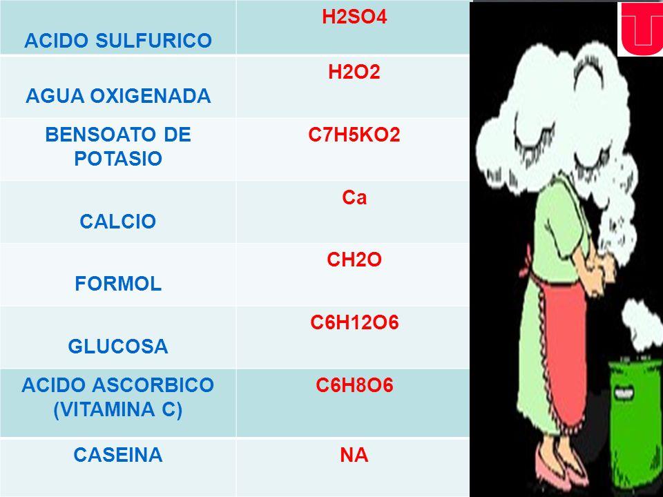 ACIDO SULFURICOH2SO4. AGUA OXIGENADA. H2O2. BENSOATO DE POTASIO. C7H5KO2. CALCIO. Ca. FORMOL. CH2O.
