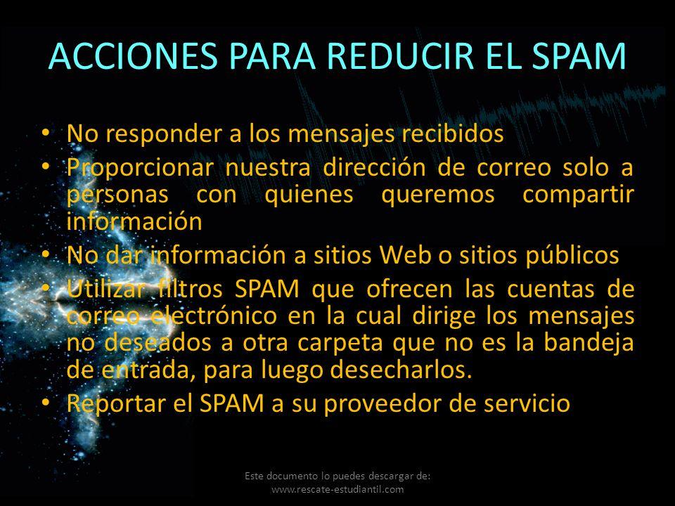 ACCIONES PARA REDUCIR EL SPAM