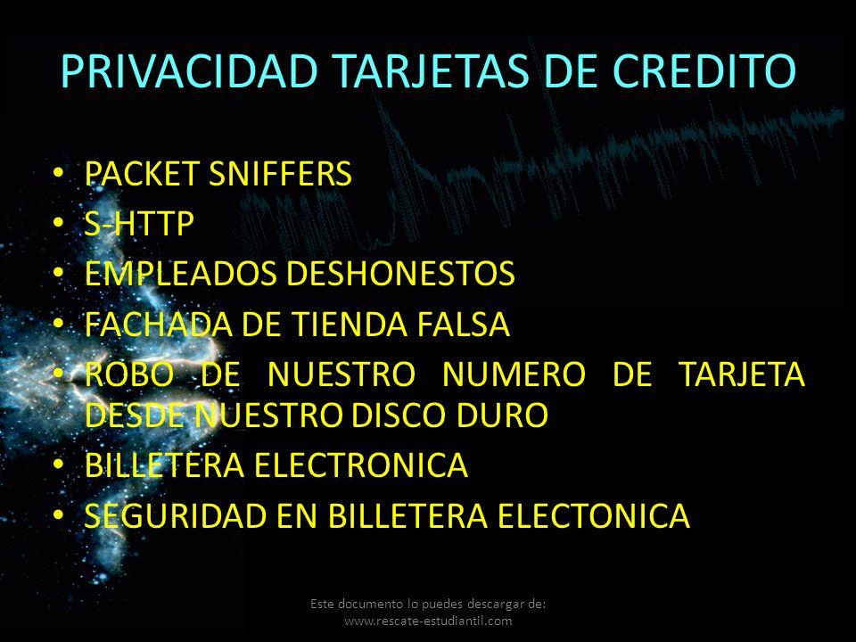 PRIVACIDAD TARJETAS DE CREDITO