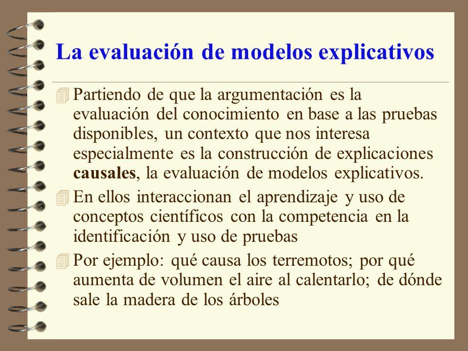La evaluación de modelos explicativos