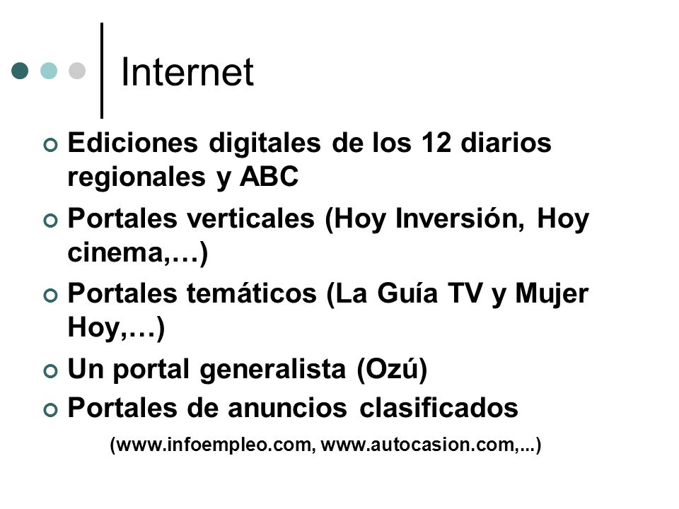Internet Ediciones digitales de los 12 diarios regionales y ABC