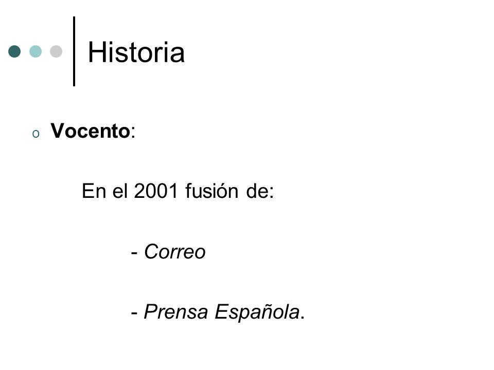 Historia Vocento: En el 2001 fusión de: - Correo - Prensa Española.