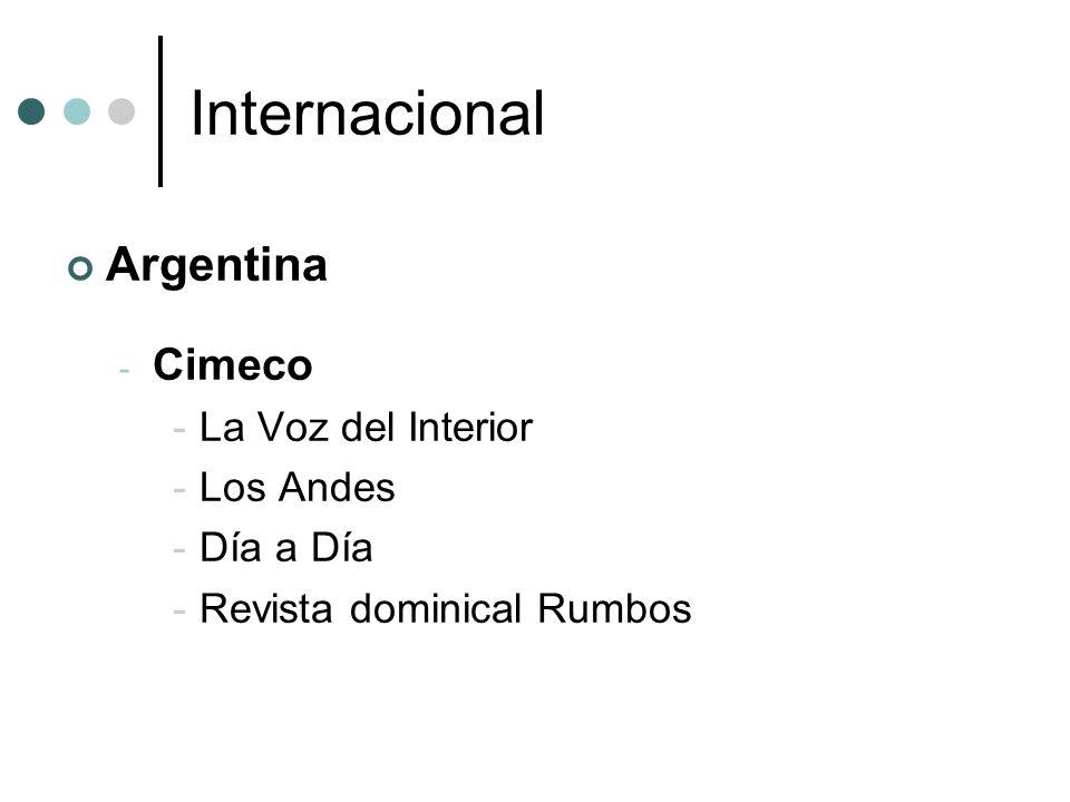 Internacional Argentina Cimeco La Voz del Interior Los Andes Día a Día