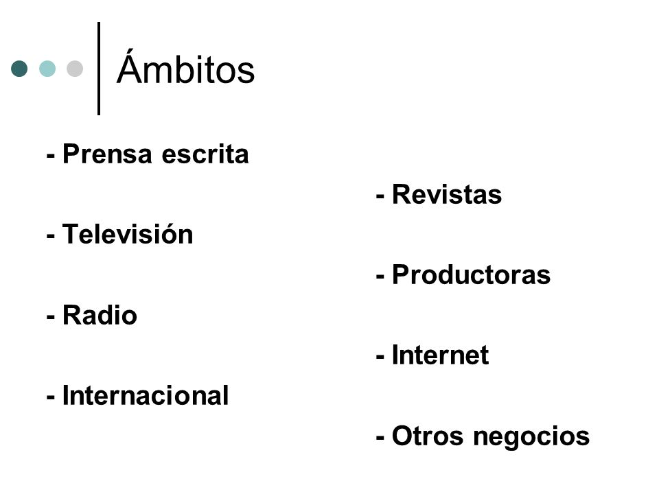 Ámbitos - Prensa escrita - Revistas - Televisión - Productoras - Radio