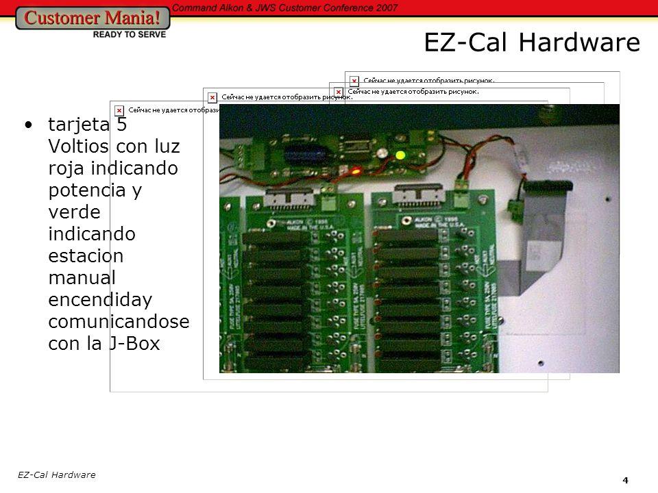 EZ-Cal Hardware tarjeta 5 Voltios con luz roja indicando potencia y verde indicando estacion manual encendiday comunicandose con la J-Box.