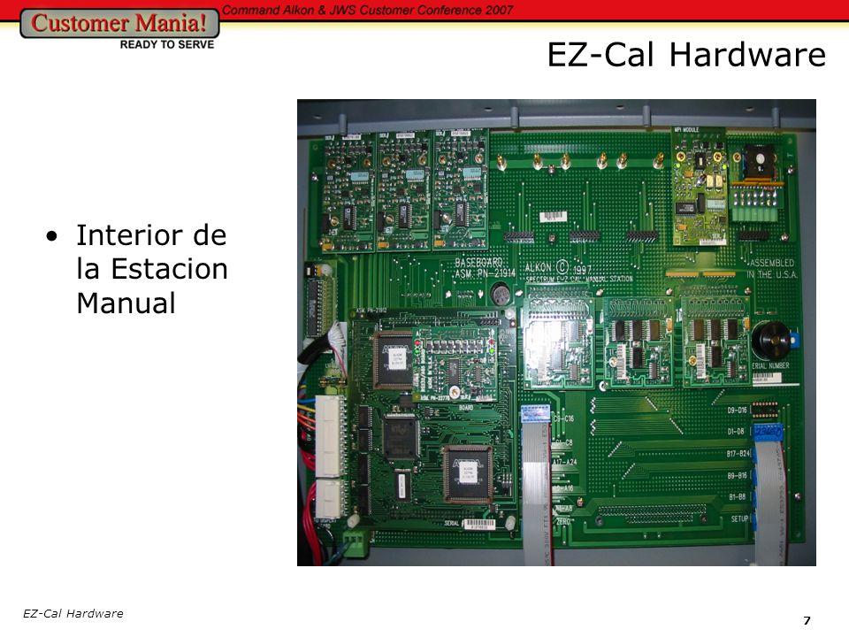 EZ-Cal Hardware Interior de la Estacion Manual EZ-Cal Hardware