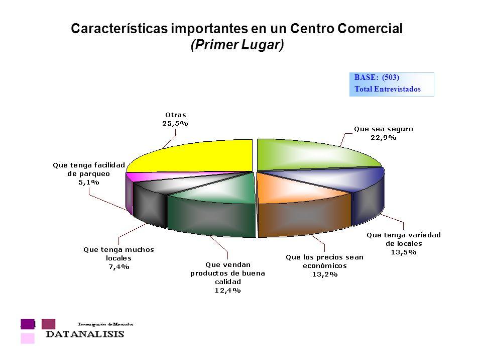 Características importantes en un Centro Comercial (Primer Lugar)