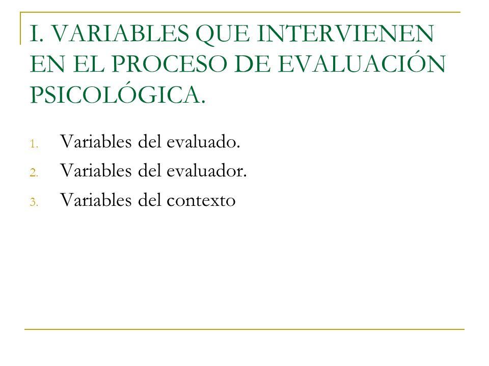 I. VARIABLES QUE INTERVIENEN EN EL PROCESO DE EVALUACIÓN PSICOLÓGICA.
