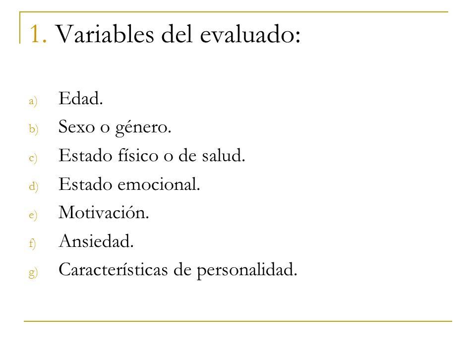 1. Variables del evaluado: